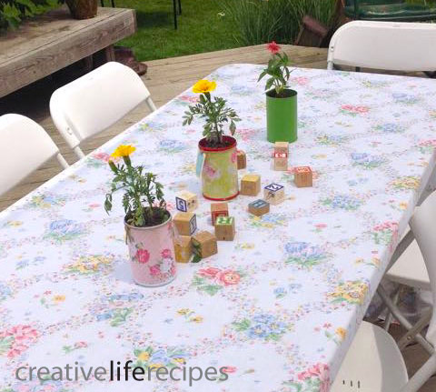 Repurposed Tin Can Decorative Paper Planters on Table Creative Life Recipes