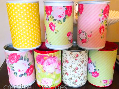 Reuse Tin Cans and Paper, Gift Wrap for Decorative Containers