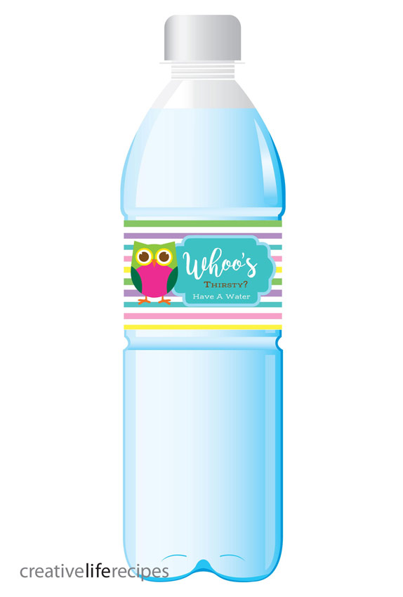 Owl Whoos Thirsty Water Bottle Label Creative Life Recipes