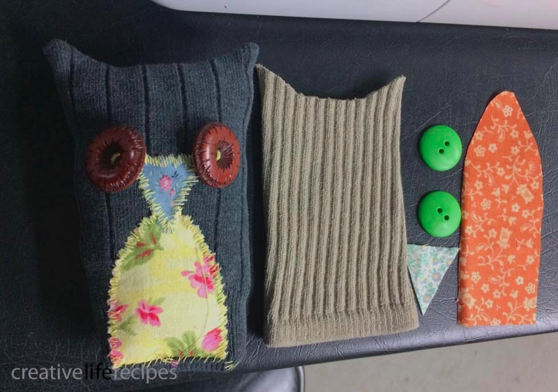 Old Sock Owl Cut Out Pieces Creative Life Recipes